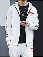 Men's Daily Hoodie Letter Hooded Micro-elastic Cotton Polyester Long Sleeve Fall