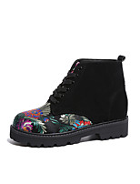 Women's Shoes Fabric Fall Winter Comfort Boots Flat Heel Booties/Ankle Boots Lace-up For Casual Black