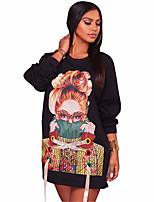 Mujer Casual/Diario Primavera Otoño Camiseta,Escote Redondo Estampado Manga Larga Poliéster Licra Medio