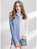 Women's Going out Street chic Spring Fall Shirt,Color Block Shirt Collar Long Sleeves Cotton Thin