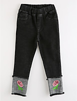 Girls' Floral Jeans-Cotton Fall