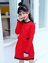 Girl's Daily Polka Dot Dress,Polyester Winter Long Sleeve New Year's Red Navy Blue