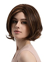 Women Synthetic Wig Capless Medium Length Natural Wave Brown African American Wig Highlighted/Balayage Hair Bob Haircut Natural Wigs