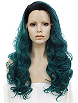 Men Women Synthetic Wig Lace Front Long Wavy Green Ombre Hair Dark Roots Natural Hairline Drag Wig Party Wig Halloween Wig Cosplay Wig