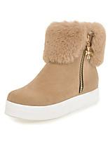 Feminino Sapatos Pele Nobuck Courino Outono Inverno Botas da Moda Curta/Ankle Botas Creepers Ponta Redonda Botas Curtas / Ankle Ziper Para