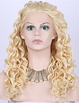 Women Synthetic Wig Lace Front Medium Length Long Curly Wavy Natural Wave Loose Wave Kinky Curly Water Wave Blonde Lolita Wig Party Wig
