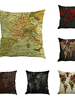 Set Of 6 European Style Classical World Map Vintage Map 45*45Cm Sofa Cushion Cover