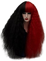 Women Synthetic Wig Capless Long Curly Kinky Curly Black/Red Party Wig Halloween Wig Carnival Wig Cosplay Wig Costume Wig
