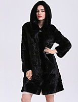 BF-Fur Style Women's Casual/Daily Sophisticated Winter Fur Coat,Solid Hooded Long Sleeve Long Fox Fur