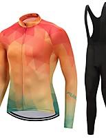 Maillot et Cuissard Long à Bretelles de Cyclisme Unisexe Manches Longues Vélo Ensemble de Vêtements La peau 3 densités Couleur Pleine