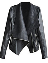 Women's Casual/Daily Simple Fall Leather Jacket,Solid Shawl Lapel Long Sleeve Regular Polyester