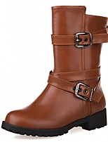 Women's Shoes PU Leatherette Fall Winter Comfort Novelty Bootie Boots Chunky Heel Round Toe Booties/Ankle Boots Buckle For Party &