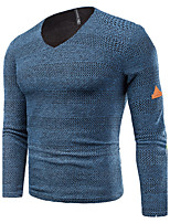 Men's Plus Size Casual/Daily Simple Regular Pullover,Solid Striped Round Neck Long Sleeves Cotton Spring Fall Medium Stretchy