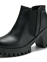 Women's Shoes PU Fall Comfort Fashion Boots Boots Round Toe Booties/Ankle Boots Gore For Casual Black