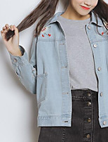 Women's Going out Casual/Daily Street chic Fall Winter Denim Jacket,Solid Shirt Collar Long Sleeve Regular Cotton