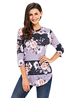 Women's Holiday Going out Coily Fall T-shirt,Floral Round Neck Long Sleeves Polyester Spandex Medium