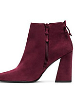 Women's Shoes Nubuck leather Cowhide Spring Fall Comfort Fashion Boots Boots Chunky Heel Square Toe Booties/Ankle Boots For Casual Wine