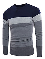 Men's Plus Size Simple Active Regular Pullover,Color Block Round Neck Long Sleeves Cotton Fall Winter Medium Stretchy
