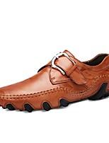 Для мужчин обувь Натуральная кожа Осень Удобная обувь Туфли на шнуровке Назначение Черный Темно-русый Темно-коричневый