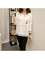 Women's Daily Work Cute Casual Sophisticated Winter Fall T-shirt,Solid Round Neck Long Sleeves Cotton Polyester Medium