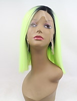 Women Synthetic Wig Lace Front Short Straight Black/Green Ombre Hair Bob Haircut Party Wig Halloween Wig Carnival Wig Costume Wig