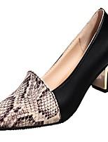 Для женщин Обувь Полиуретан Весна Лето Удобная обувь Туфли лодочки Обувь на каблуках На толстом каблуке Заостренный носок Назначение