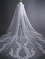 One-tier Wedding Veil Cathedral Veils With Applique Satin Flower Lace Tulle