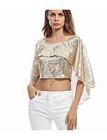 Women's Club Sexy Summer T-shirt,Solid Print Round Neck 3/4 Length Sleeves Others Thin