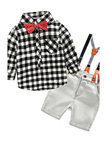Girls' Check Sets,Cotton Spring Fall Long Sleeve Clothing Set