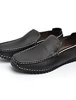 Для мужчин обувь Наппа Leather Кожа Весна Осень Светодиодные подошвы Мокасины и Свитер Назначение Повседневные Черный Синий