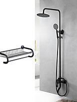 Contemporary Special Design Simple Modern Style Tub And Shower Rain Shower Handshower Included Two Holes for  Black , Shower Faucet
