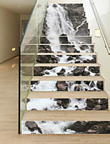 13Pcs/Set DIY 3D Stairway Stickers Stone Waterfall for House Stairs Decoration Large Staircase Wall Sticker Stone River Decals Home Decor 18*100*13cm