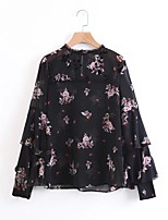 Women's Going out Casual/Daily Cute Spring Fall Blouse,Floral Stand Long Sleeves Others Thin Medium