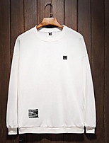 Men's Daily Sweatshirt Solid Round Neck Micro-elastic Others Long Sleeve Fall
