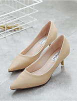 Women's Shoes PU Spring Summer Comfort Heels For Casual Office & Career Almond Gray Black