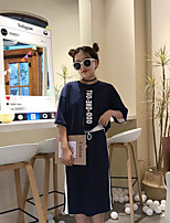 Women's Casual/Daily Simple Spring Summer Fall T-shirt Skirt Suits,Letter & Number Round Neck ¾ Sleeve