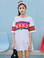 Women's Daily Going out Active T-shirt,Letter Round Neck Short Sleeves Others