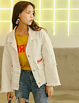 Women's Casual/Daily Simple Fall Denim Jacket,Letter Shirt Collar Long Sleeve Regular Others