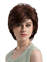 Women Synthetic Wig Capless Short Straight Brown Side Part Highlighted/Balayage Hair Layered Haircut Natural Wigs Costume Wig