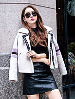 Women's Daily Simple Casual Winter Fur Coat,Solid Letter Shirt Collar Long Sleeve Short Polyester