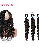 cheap -8A 360 Lace Frontal Closure With 3 Bundles Loose Wave Brazilian Virgin Hair 360 Lace Band 100% Human Hair Natural Color