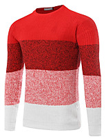 Men's Casual/Daily Work Regular Pullover,Color Block Round Neck Long Sleeves Polyester Fall Winter Medium Micro-elastic