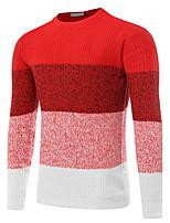 Для мужчин На каждый день Офис Обычный Пуловер Контрастных цветов,Круглый вырез Длинный рукав Полиэстер Осень Зима Средняя Слабоэластичная
