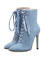 Feminino Sapatos Jeans Outono Inverno Conforto Inovador Botas da Moda Curta/Ankle Botas Salto Agulha Dedo Apontado Botas Curtas / Ankle