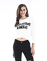 Women's Daily Sports Fall T-shirt,Letter Round Neck 3/4 Length Sleeves Cotton