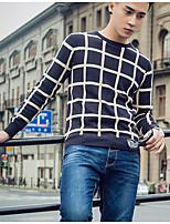 Standard Pullover Da uomo-Casual Semplice A quadri Rotonda Manica lunga Poliestere Inverno Medio spessore Media elasticità