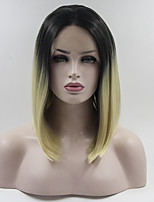 Women Synthetic Wig Lace Front Short Straight Black/White Natural Hairline Bob Haircut Natural Wigs Costume Wig