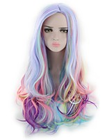 Women Synthetic Wig Capless Long Wavy Natural Wave Deep Wave Rainbow Lolita Wig Party Wig Halloween Wig Cosplay Wig Costume Wig