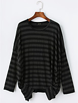 T-shirt Da donna Casual Autunno,A strisce Rotonda Cotone Manica lunga Sottile