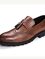 Men's Shoes Leather Summer Fall Comfort Oxfords Tassel For Casual Outdoor Brown Gray Black